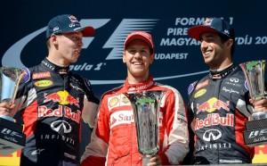 Hungarian GP Podium 2015- Vettel (1st), Kvyat (2nd), Ricciardo (3rd) - Copyright grandprix247.com