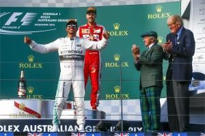 Lewis Hamilton podium celebration after winning the Formula One Grand Prix of Australia - credit http-::cyprus-mail.com: