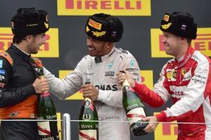 Russian Grand Prix 2015 - Perez (left) Hamilton (middle) Vettel (right) - Photo copyright www.hindustantimes.com