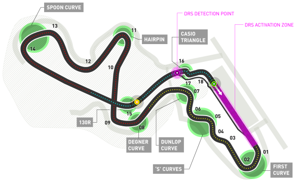 Suzuka Circuit, used for the 2014 Japanese Grand Prix - From the Formula1.com website