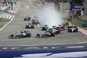 First corner of the 2014 Bahrain Grand Prix. Photo credit: Habeed Hameed