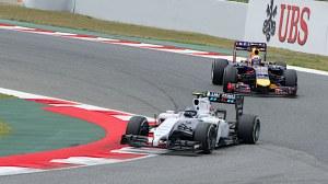 Bottas and Ricciardo at the 2014 Spanish Grand Prix - copyright Jane drumsara