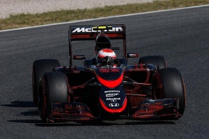 Jenson Button at the wheel of the McLaren MP4-30 with new livery during FP1 at the Spanish Grand Prix. Photo credit: @McLarenF1
