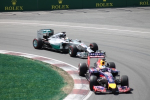 Ricciardo leads Hamilton at the Canadian GP 2014 - Copyright: Rachel Clarke