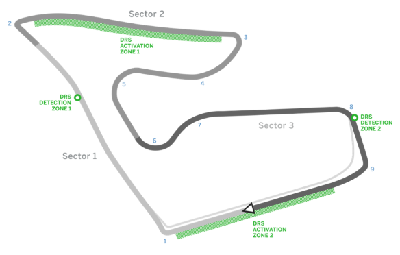 Austrian GP - Red Bull Ring circuit diagram - copyright: Formula1.com