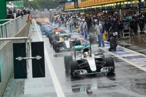 Lewis Hamilton leads the order under red flag at the Brazilian Grand Prix. Copyright: Mercedes AMG F1 Team
