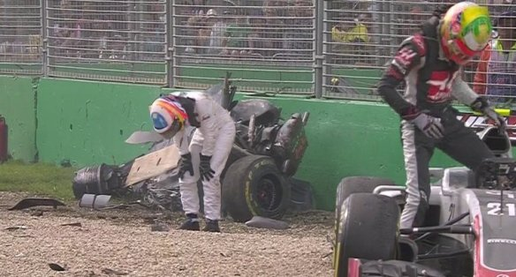 A live screen shot of Fernando Alonso's crash.