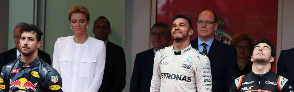 Monaco Grand Prix Podium (Ricciardo left, Hamilton centre, Perez right). Copyright of Force India.