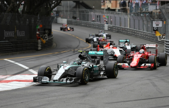 Rosberg leading Vettel and Hamilton late into the 2015 Monaco Grand Prix. Photo credit: CrazyLenny2