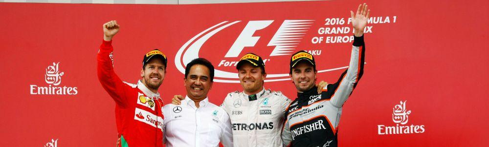 European Grand Prix 2016 Podium, Vettel (Ferrari, left), Rosberg (Mercedes, centre), Perez (Force India, right)- Photo copyright Force India F1 Team