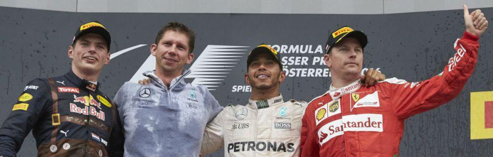Austrian Grand Prix podium (Versatppen, left - Hamilton, centre - Raikkonen, right). Copyright Mercedes AMG F1 Team
