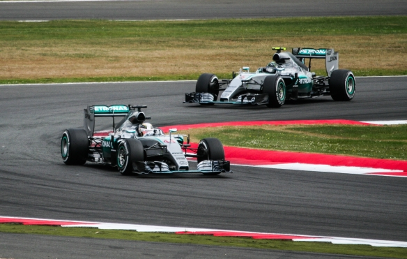 Hamilton leading Rosberg in the 2015 British Grand Prix. Credit: Franziska