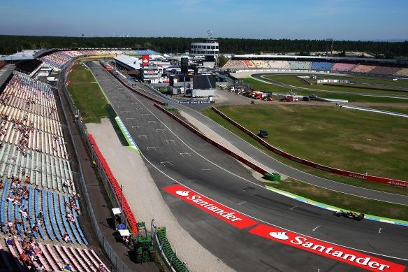 Hockenheimring pit straight and stadium stand. Copyright: Force India F1 Team
