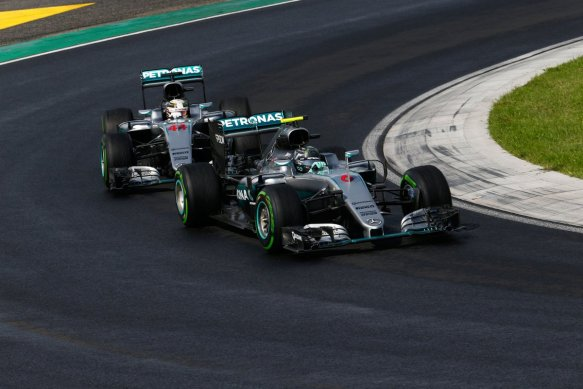 Rosberg and Hamilton, Saturday Hungarian GP - Copyright Mercedes