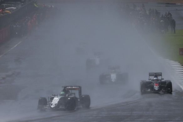 The wet start at the 2016 British Grand Prix. Copyright: Force India