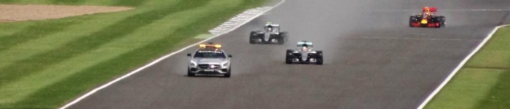 The British Grand Prix, underway behind the safety car. Credit: Ben Sutherland