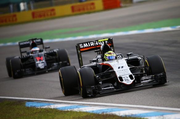 Sergio Perez (Force India), running ahead of Fernando Alonso (McLaren). Photo copyright: Force India