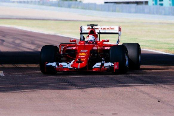 Vettel running Ferrari's mule car in the first Pirelli 2017 tyre test