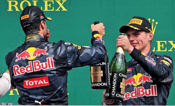 Ricciardo and Verstappen on the podium - Photo copyright Red Bull Racing