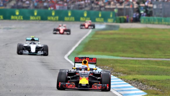 Verstappen leading Rosberg and the Ferrari's - Photo copyright Red Bull Racing