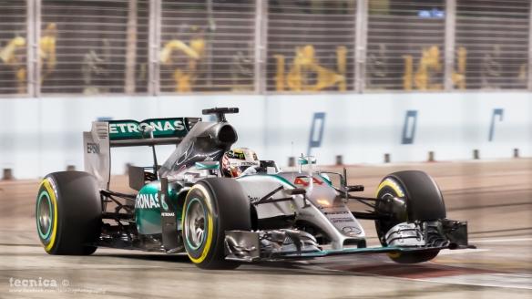 Lewis Hamilton, during the 2015 Singapore Grand Prix. Photo Credit: Tecnica