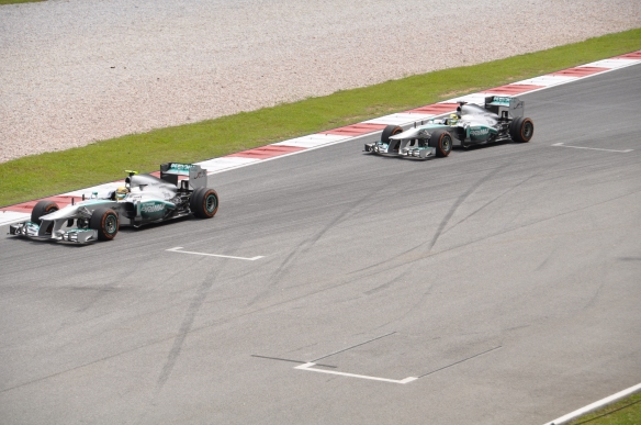 Hamilton leading Rosberg during the 2013 Malaysian Grand Prix. Photo Credit: Zhul.