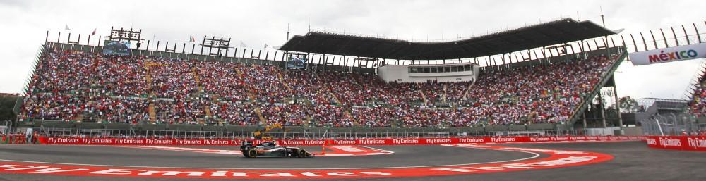 Autodromo Hermanos Rodriquez stadium section - 2015 Mexican Grand Prix. Copyright Force India.