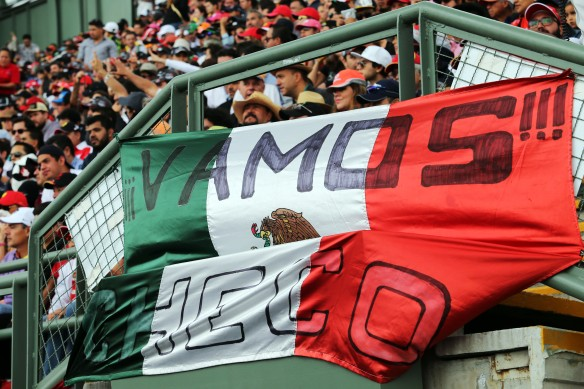 Mexican GP fans cheer on their home driver. Copyright Force India.