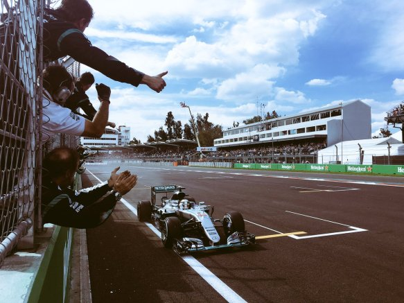 Hamilton and Mercedes celebrate victory at the 2016 Mexican Grand Prix. Copyright Mercedes AMG F1 Team.