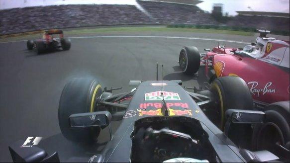 Ricciardo and Vettel collide during the 2016 Mexico Grand Prix. Copyright @F1.