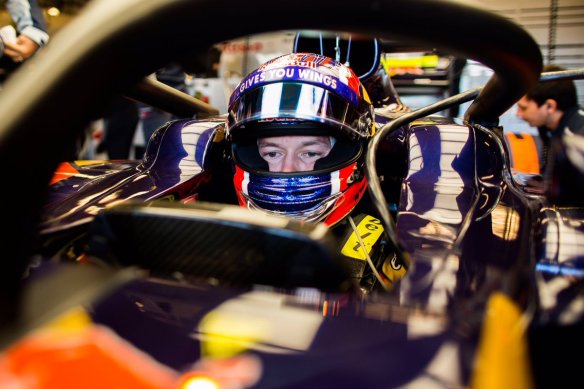 Daniil Kvyat with the Halo fitted for USGP practice. Copyright Toro Rosso.
