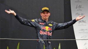 Max Verstappen on the Brazil GP podium. Copyright Red Bull Racing.
