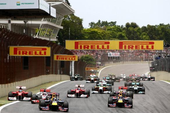 The start of the 2011 Brazilian Grand Prix, won by Australia's Mark Webber. Photo copyright: Infiniti.