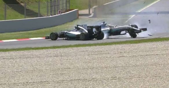 The two Mercedes of Hamilton and Rosberg collide at the 2016 Spanish Grand Prix. Copyright: SkySportsF1