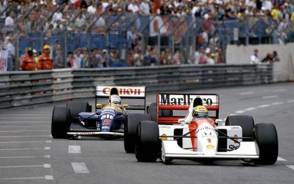 Nigel Mansell (Williams FW14B Renault) following Ayrton Senna's McLaren MP4-7 during the 1992 Monaco Grand Prix - (c) Pher38