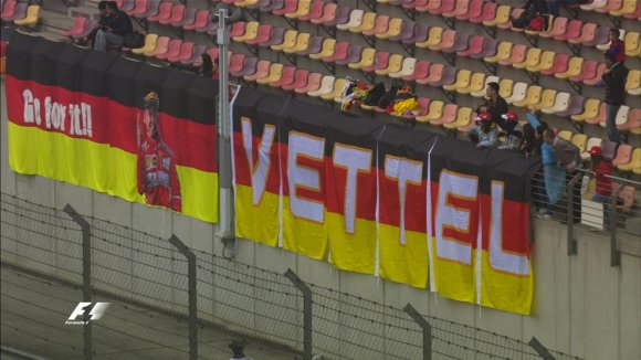 Sebastian Vettel fans erecting a banner for the German during FP2 at the Chinese Grand Prix. Copyright: Formula1