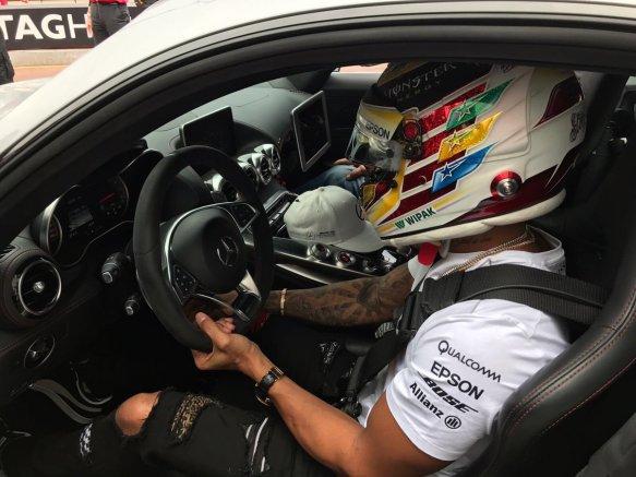 Hamilton - between thursday practice safety car run - monaco 2017 - mercedes