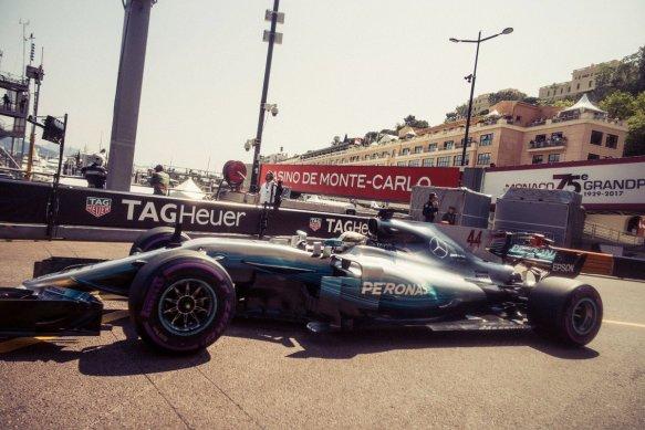 Hamilton enters pit lane monaco mercedes