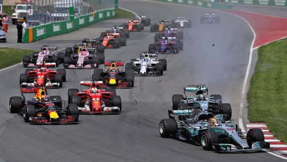 The start of the 2017 Canadian Grand Prix, as Hamilton leads Verstappen and Bottas. Photo credit: Red Bull Racing.