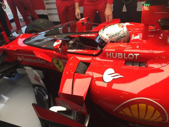 Vettel FP1 Shield trial - https-::twitter.com:ScuderiaFerrari:status:885770995105247232